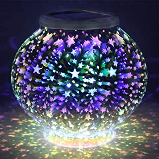 Color Changing Mosaic Solar Light, Pandawill Waterproof/Weatherproof Crystal Glass Globe Ball Light for for Garden, Patio, Party, Yard, Outdoor/Indoor Decorations (Stars)