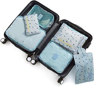7 مجموعة صناديق تعبئة للنساء أثناء السفر، إكسسوارات السفر منظمات الأمتعة مع حقيبة غسيل وحقيبة أحذية (الكرز الأزرق)