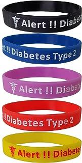 Max Petals Diabetes Type 2 Silicone Bracelet Wristbands - 5 Pack