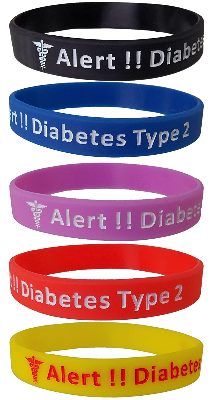Max Petals Diabetes Type 2 Silicone Bracelet Wristbands - 5 Pack