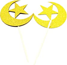 Gold Moon and Star Cupcake Toppers Baby Shower Cupcake Toppers Star Theme Wedding Party Decoration Set of 20
