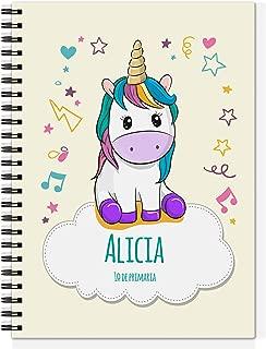Cuaderno Unicornio Personalizado con Nombre/Curso   Vuelta al Cole Niño Niña   Varios diseños y tamaños a Elegir   Unicornio