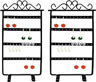 Richohome Jewlery Organizer for Hanging Earrings,Earring Holder Metal Jewelry Display Rack- 2 Pack, Black