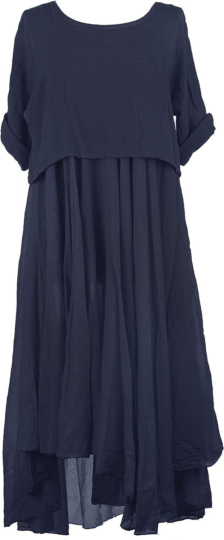 TEXTURE Ladies Women Italian Lagenlook 2 Piece Plain Flare Maxi Dress Teabag Cotton Shrug Top One Size