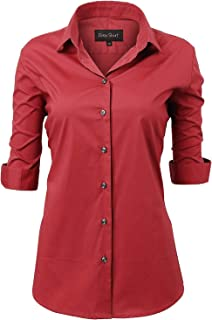Womens Dress Shirts, Basic Long/Half Sleeve Slim Fit Casual Button Up Shirt Stretch Formal Shirts