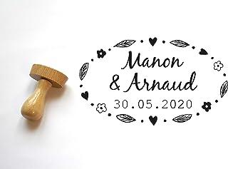 Timbro matrimonio personalizzabile con nomi e data, stile floreale, forma ovale
