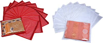 Kuber Industries™ Non Woven Packing Saree Cover Set of 24 Pcs (Red+White) Code-SCC30