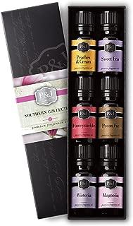 Southern Set of 6 Premium Grade Fragrance Oils - Pecan Pie, Peaches & Cream, Magnolia, Wisteria, Honeysuckle, and Sweet Pea
