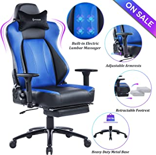 VON RACER Big & Tall 350lbs Massage Gaming Chair with Retractable Footrest - Adjustable Back Angle and Arms Ergonomic High-Back Leather Racing Executive Computer Desk Office Chair Metal Base, Blue