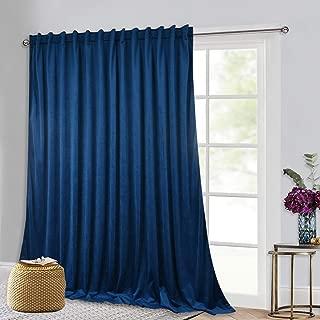 Velvet Curtains 120-inch Long - Sunlight Blackout Extra Large Velvet Drape for Living Room Office Slider Glass Door Bedroom High Ceiling Window Decor, Blue, 100 x 120 inch, 1 Panel
