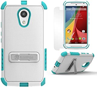 PimpCase Compatible with Moto G 2nd Gen Case, Moto G2, Durable Hybrid Rugged Armor Shockproof White Light Blue Phone Cover with Built in Kickstand