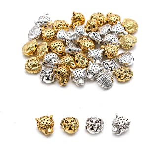 WSSROGY 40 pcs Alloy Lion Charms Head Beads Bracelet Necklace Connector Charm Spacer Beads for Bracelet Jewelry Making
