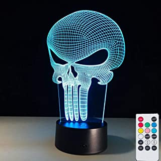 Skull 3D Optical Illusion Nightlight Lamps, Remote 7 Colors Table Desk Lamps Holiday Xmas Toys Gifts for Kids Baby Toddler.