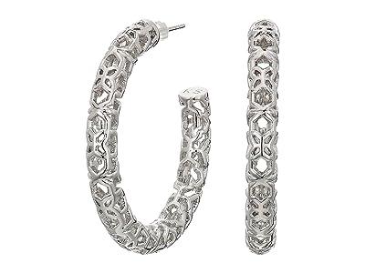 Kendra Scott Maggie 1.5 Hoop Earrings (Rhodium Filigree Metal) Earring