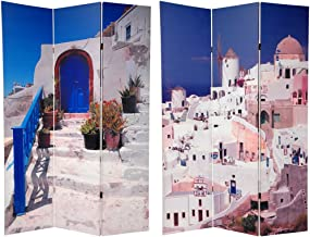 Oriental Furniture 6 ft. Tall Double Sided Santorini Greece Room Divider