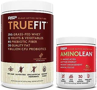 AminoLean Pre Workout Energy (Strawberry Kiwi 30 Servings) with TrueFit Protein Powder (Cinnamon Churro 2 LB)