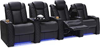 Seatcraft Enigma Home Theater Seating Leather Power Recline with Powered Headrest and Powered Lumbar Support, Built-in SoundShaker, USB Charging, Lighted Cup Holders and Base, Row of 4, Black