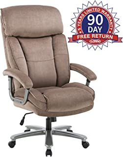 CLATINA Ergonomic Big & Tall Executive Office Chair with Upholstered Swivel 400lbs High Capacity Adjustable Height Thick Padding Headrest and Armrest for Home Office Beige