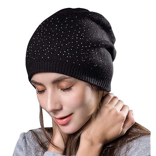 d33d2807f670dd Yidarton Women's Winter Knit Hat Beanie Hat Ladies Warm Wool Soft Cap  Winter Hats with Strass