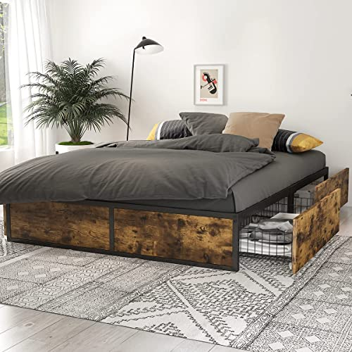 SHA CERLIN Industrial Full Size Metal Frame Bed with MDF Board, Without Headboard, 4 XL Light Drawers with Casters, Large Storage Space, Metal Slat Support, No Box Spring Needed, Easy Assembly