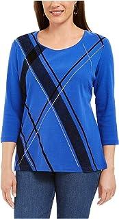 KAREN SCOTT Womens Blue Embellished Color Block 3/4 Sleeve Scoop Neck Top AU Size:10