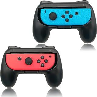 FYOUNG Empuñaduras Grip para Nintendo Switch Joy-con Mandos Set, Cómoda Agarres para Manos Grip Funda de Gamepad para JoyCon Controller - Negro (2 Paquetes)