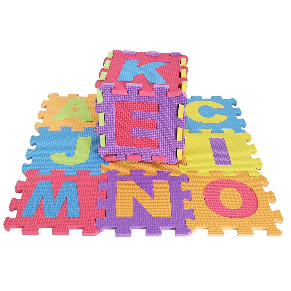 チロ検体パトロン子供 パズル 教育玩具 アルファベット 文字数字 発泡マット ジョイントマット 数字マット 清掃が簡単 36本