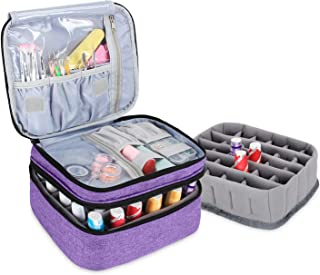 Luxja Nail Polish Carrying Case - Holds 30 Bottles (15ml - 0.5 fl.oz), Double-layer Organizer for Nail Polish and Manicure Set, Purple