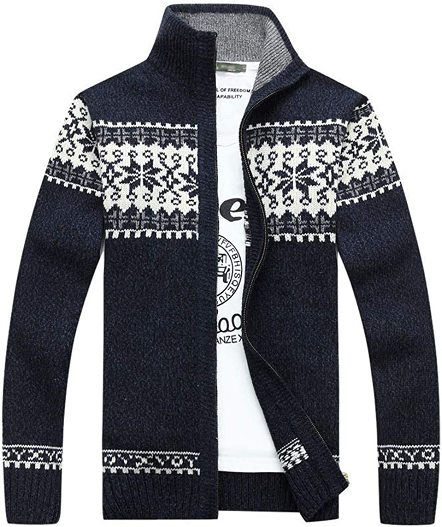 Max 42% OFF Duyang Mens Winter OFFicial site Warm Snowflake Knit Cardigan Sweater Pattern