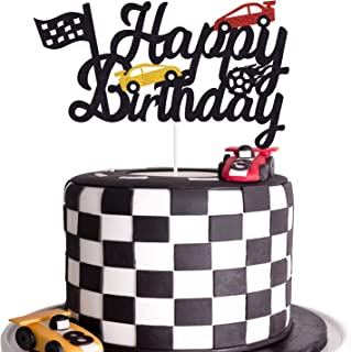 Race Car Birthday Cake Topper Happy Birthday Cake Decor Chequered Flag Themed Party Supplies Decorations(Doubled-Sided)