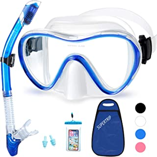 Supertrip Snorkel Set Adults-Anti-Fog Film Scuba Diving Mask Impact Resistant Panoramic Tempered Glass Easybreath Anti-Leak Dry Top Snorkeling Packages with Waterproof Case & Carrying Bag