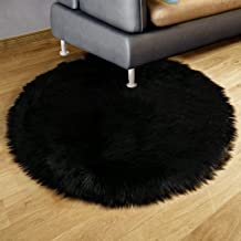 Dikoaina Classic Soft Faux Sheepskin Chair Cover Couch Stool Seat Shaggy Area Rugs for Bedroom Sofa Floor Fur Rug, Black, Round