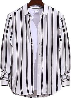 [ラッキーチャーム] シャツ メンズ 柄シャツ ストライプ カジュアルシャツ 長袖 落ち感 薄手 耐摩耗 吸汗透湿素材