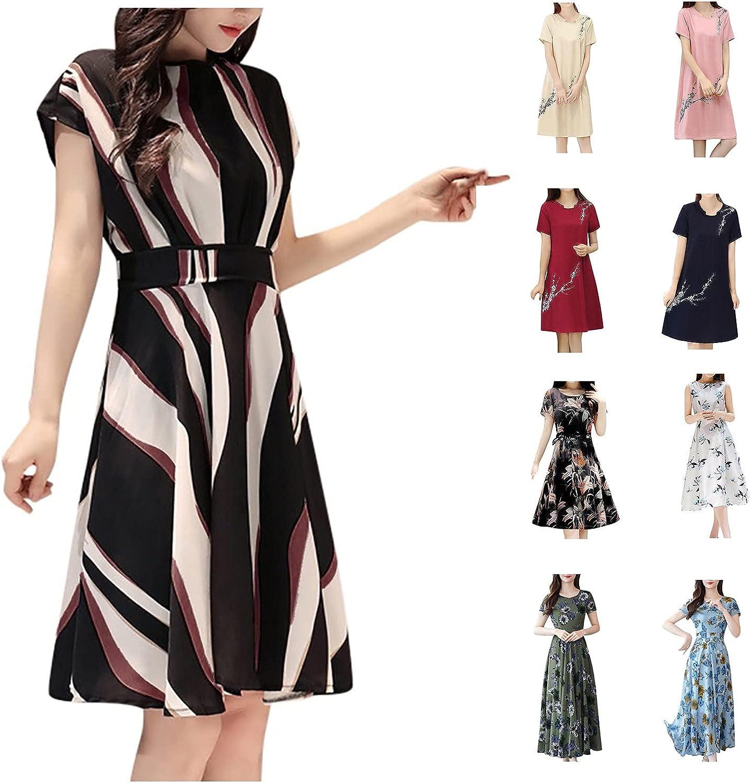 WOCACHI Summer Dress for Women Striped Floral Mid-Calf Short Sleeve Dresses Business Beach Dress