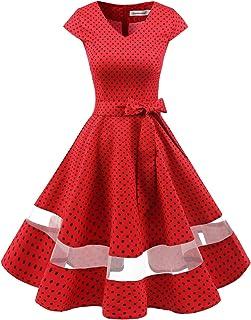 4086f6155e0779 Gardenwed 1950er Vintage Retro Cocktailkleid Cap Sleeves Rockabilly Kleider  Damen Schwingen Petticoat Faltenrock