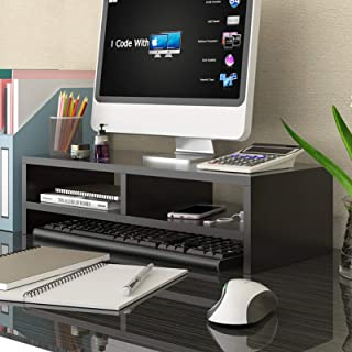 Anmas Home Wood Monitor Stand, Multifunctional Wooden Office Desk Organiser Desktop Computer Screen Riser for TV, PC, Laptop (Deep walnut)