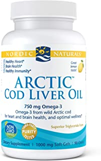 Nordic Naturals Arctic Cod Liver Oil, Lemon - 90 Soft Gels - 750 mg Total Omega-3s with EPA & DHA - Heart & Brain Health, ...