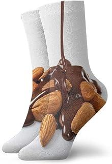 Fuliya, Calcetines suaves de media pantorrilla, para fotografía de salsa de chocolate vertidos sobre un montón de almendras, calcetines para mujeres y hombres mejor para correr