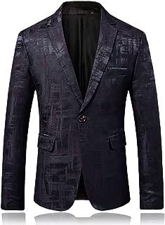 Men's One Button Printed Dress Blazer Slim Fit Party Blazer Jacket
