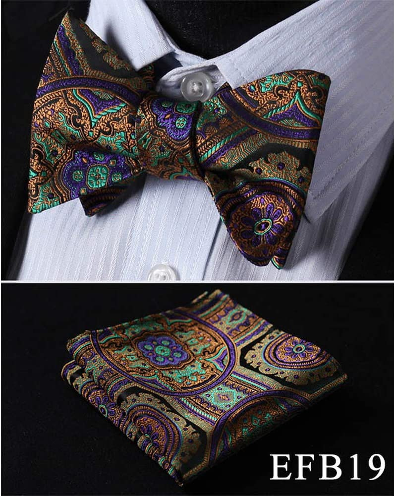 ZXCVBN Silk Jacquard Woven Men Butterfly Self Pocket Square Handkerchief Suit Set