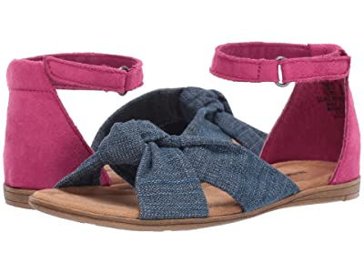 Minnetonka Kids Etta (Toddler/Little Kid/Big Kid) (Blue Denim/Hot Pink Microsuede) Girls Shoes