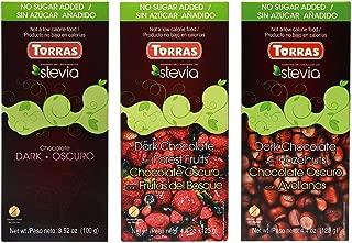 Torras Stevia Sugar Free and Gluten Free Dark Chocolate Bar - Dark Chocolate (3 Pack)