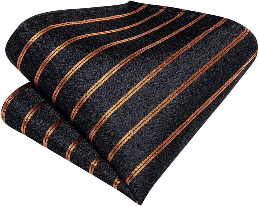 CDQYA Gold Striped Black Cravat Ties For Men Vintage Tie Polyester Silk Neck Ring Gift (Color : Gold Striped, Size : One size)