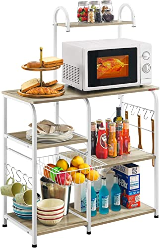 "Mr IRONSTONE Kitchen Baker's Rack Utility Storage Shelf 35.5"" Microwave Stand 3-Tier+4-Tier Shelf for Spice Rack Orga..."