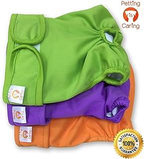 PETTING IS CARING Pañales Lavables para Perros Paquete de 3 Unidades - Pañales para Perras Materiales de la Mejor Calidad MÁQUINA Durable Lavable Solución para INCONTINENCIA L
