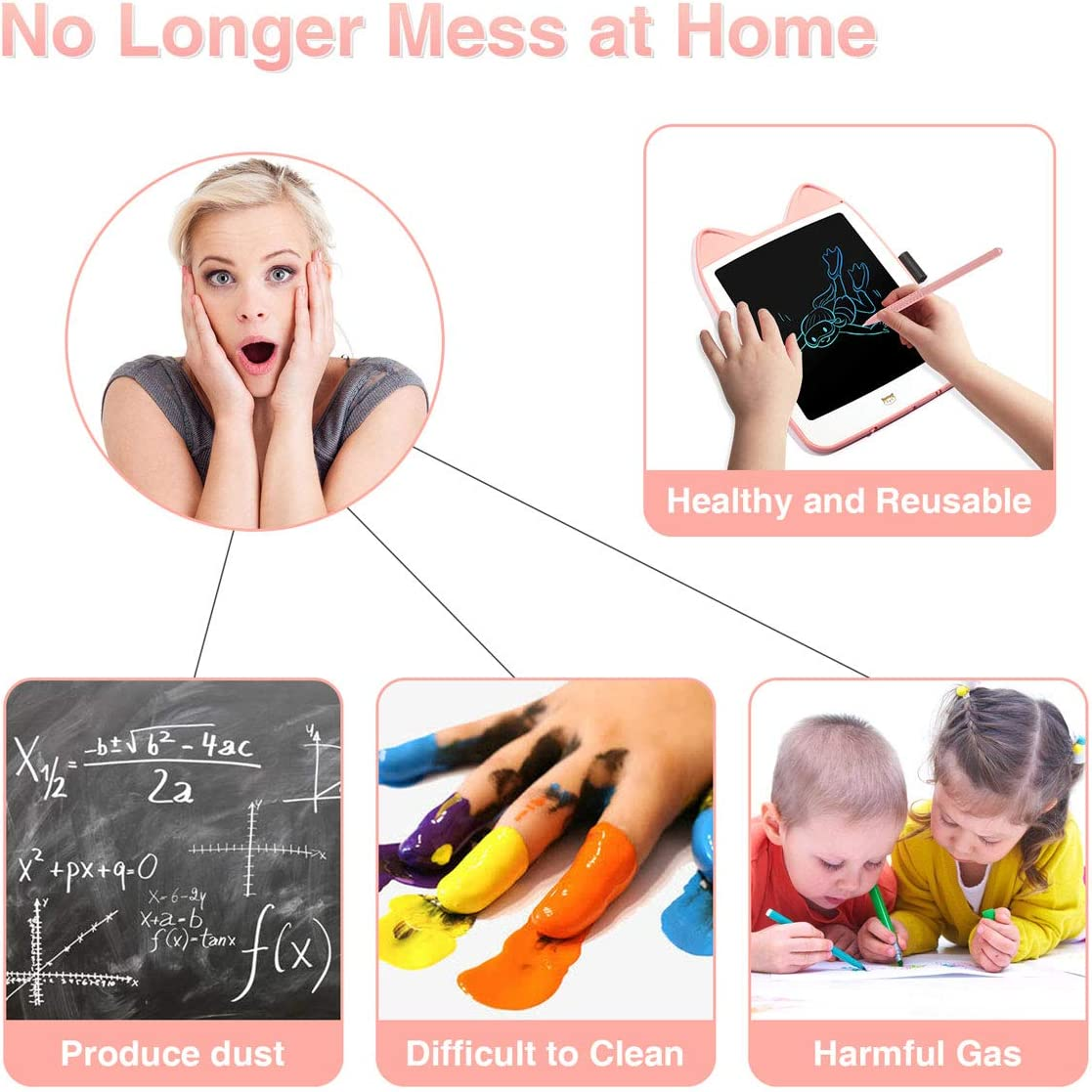BUEMODRA LCD Writing Tablet 6.5 Inch Colorful,Small Erasable Reusable Scribble Doodle Board for Kids,Pink Cat Drawing Tablets for 1-5 Years Old Little Girls Kids Learning Gift