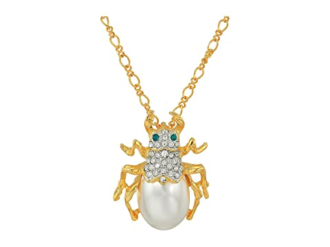 """18"""" Gold Chain with Crystal and Pearl Beetle Pendant Necklace"""