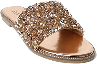 H2K Womens Glitter Bling Fancy Slide Flat Low Wedge Sparkle Sandals Shoes Dream