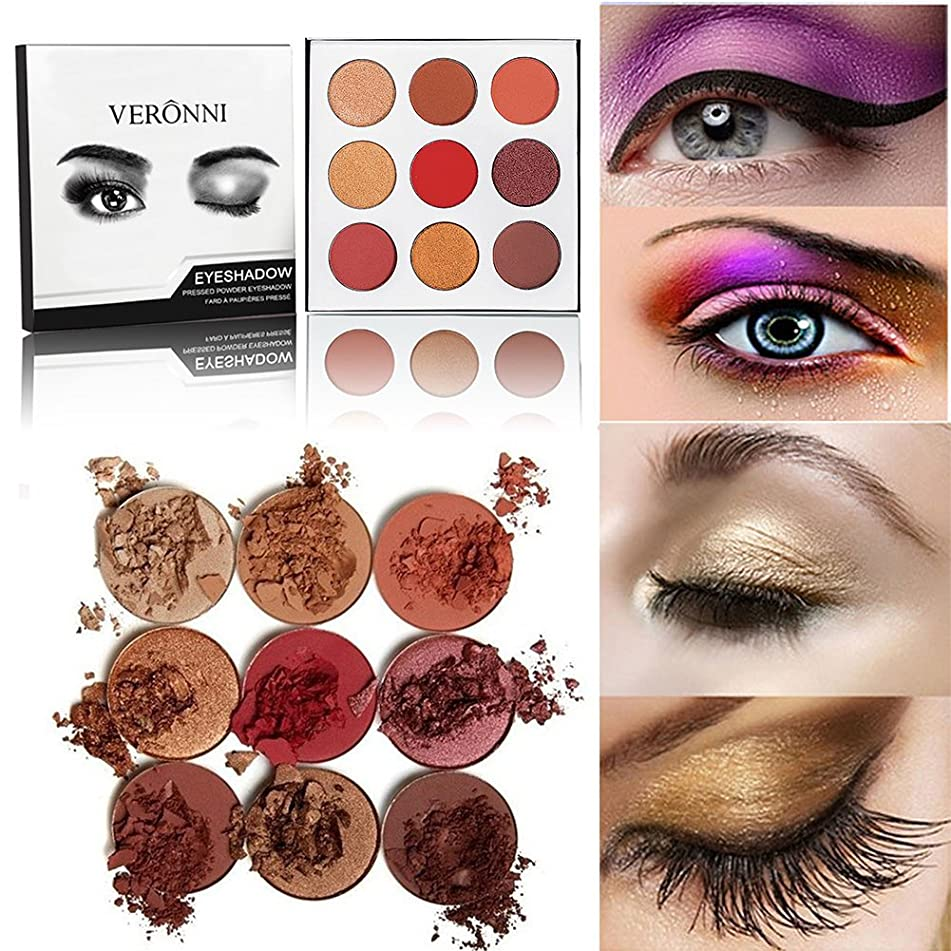VERONNI 9 Colors Highly Pigmented Pro Pressed Colorful Shimmer & Matte Eyeshadow Palette - Professional Neutral Vegan Burgundy Nudes Warm Natural Bronze Smoky Cosmetic Eye Shadow Makeup
