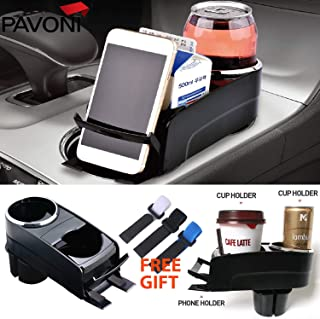 PAVONI Universal 3-in-1 Multiple Drink Holder/Dual Cup Holder/Cup Holder Expander/Car 3-in-1 Console Organizer/Storage Box/Phone Holder/Multi-Purpose Tray